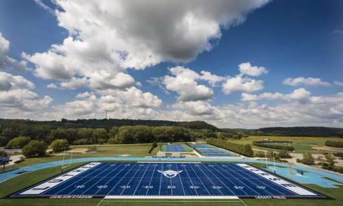 Blue turf fits Luther football