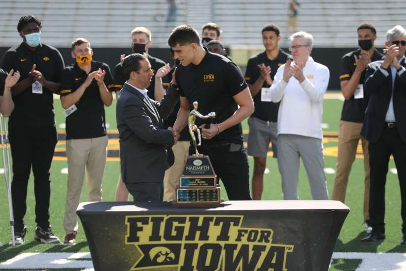 Luka Garza feted by Iowa fans at Kinnick
