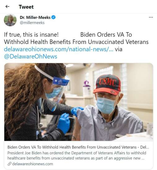 Rep. Mariannette Miller-Meeks retweets fake story about Biden withholding benefits to unvaccinated veterans