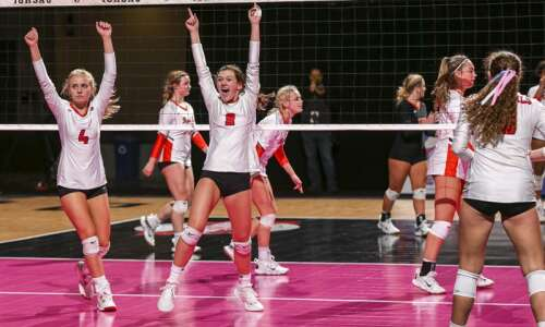 Photos: Clarion-Goldfield-Dows vs. Red Oak, Iowa Class 3A state volleyball…