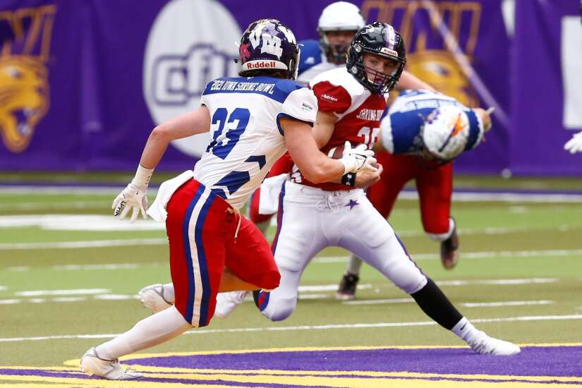 Future Hawkeyes Cooper DeJean, Max White lead North to Shrine Bowl win