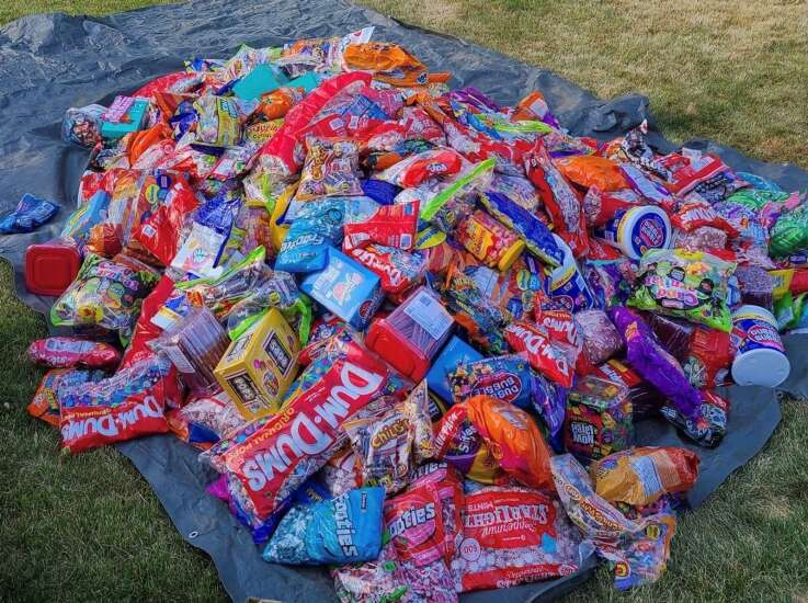 Christine Rublack checks weight of cars and candy