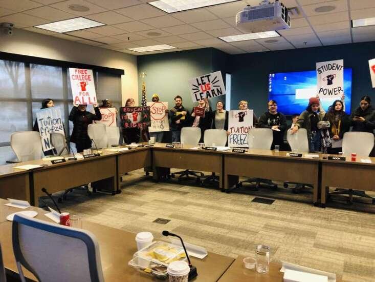Student protesters shut down Iowa Board of Regents meeting