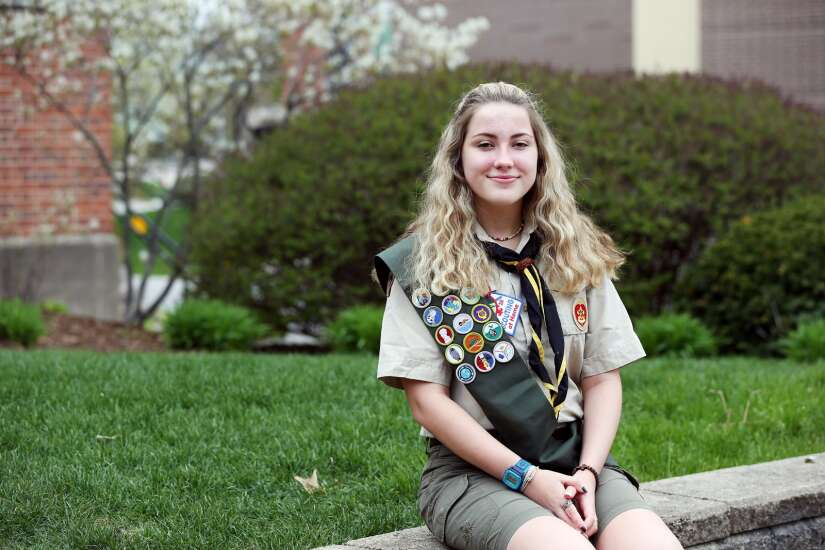 Blazing a trail: University of Iowa freshman among inaugural class of female Eagle Scouts