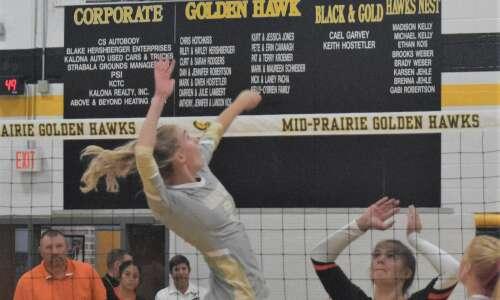 Mid-Prairie volleyball survives Tipton