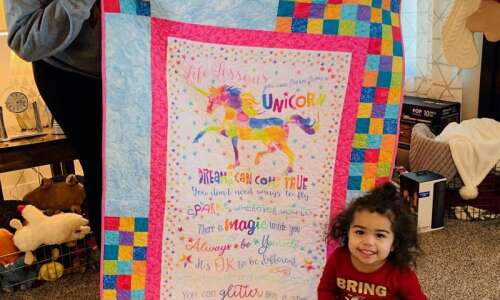 North Liberty toddler receives heirloom quilt finished after great-grandma's death