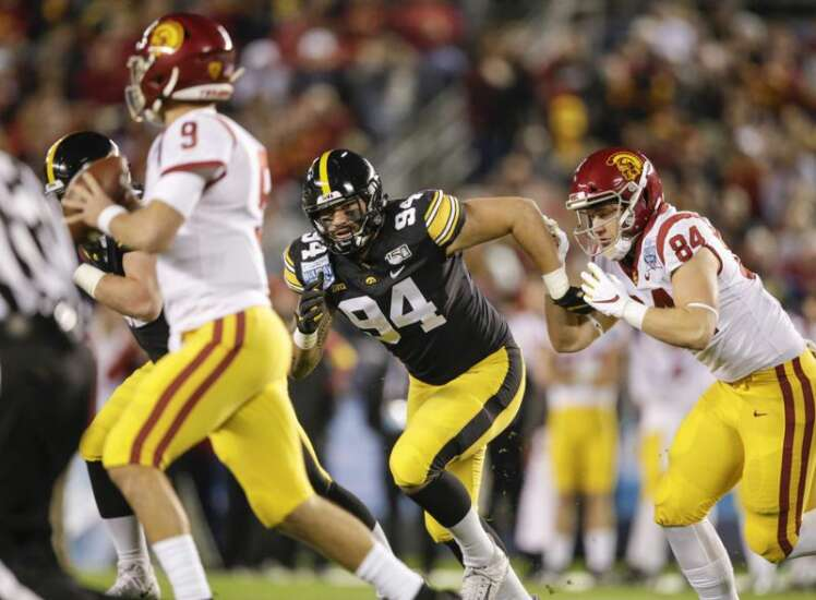 Iowa's A.J. Epenesa still is running away from his 40 ahead of NFL Draft