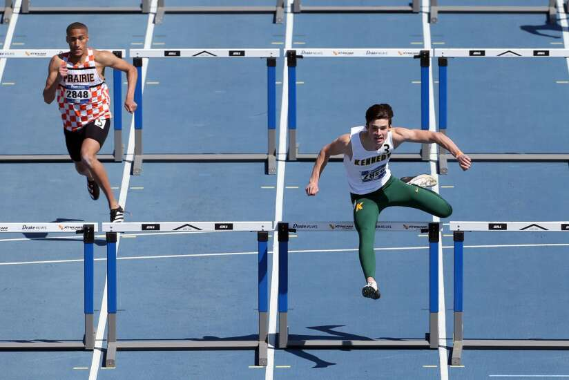 Drake Relays boys' roundup: On his own or with his teammates, Kennedy's Drew Bartels is tops
