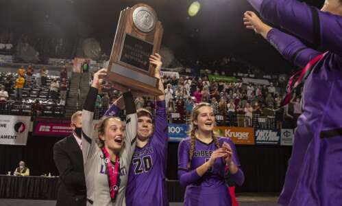 Ankeny blocks Liberty in 5A state volleyball championship match