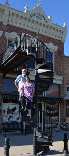 Burlington Iron Works Winding Stairs still functional after 126 years