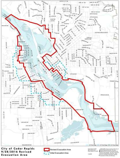 New Cedar Rapids evacuation map