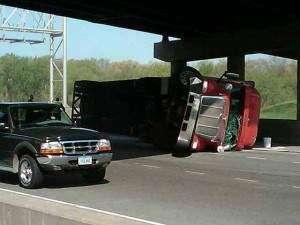 Semi rolls at Interstate 80, Interstate 380 interchange
