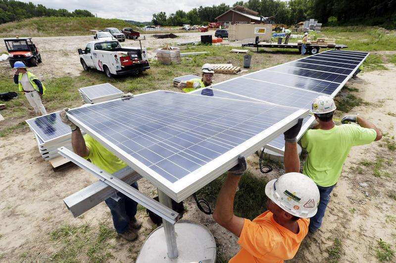Solar panels go up at new Indian Creek Nature Center building