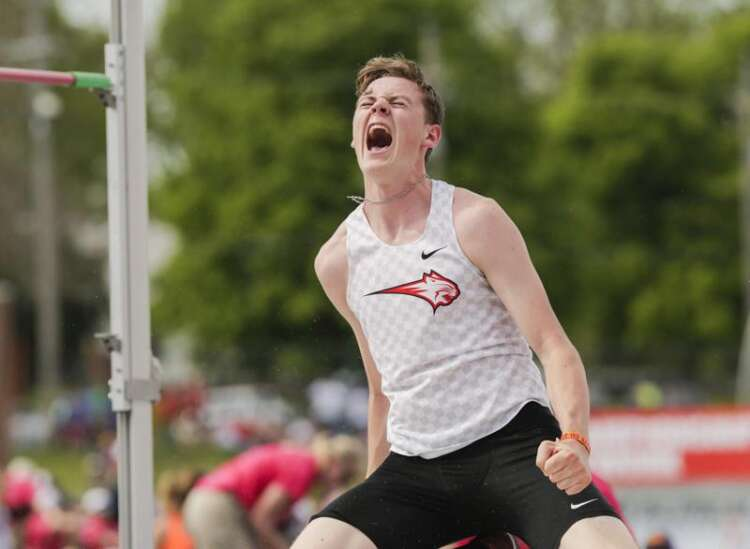 Iowa 4A boys' state track and field: Grant Kelchen fights off elimination 3 times to win high jump