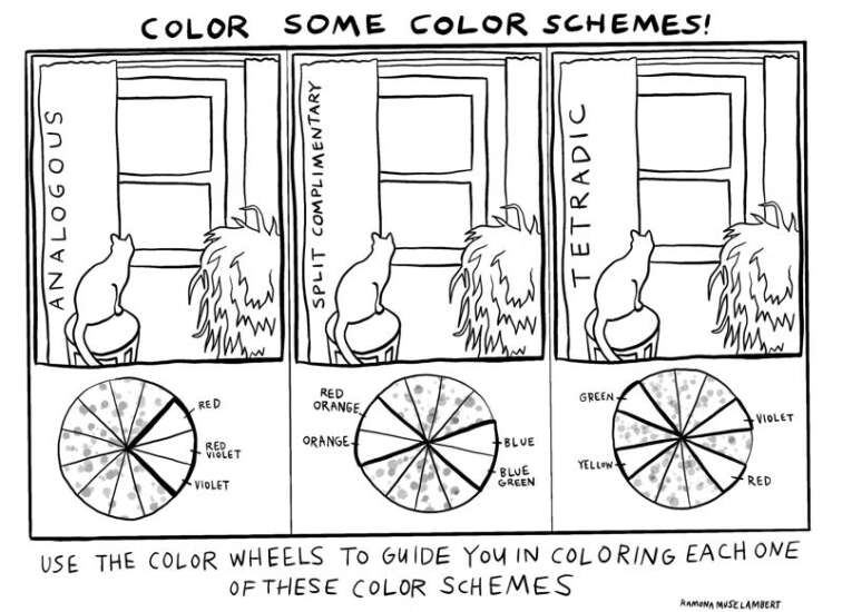 Use the color wheel to color these pictures