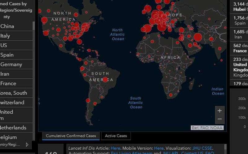 Coronavirus world map data dashboard