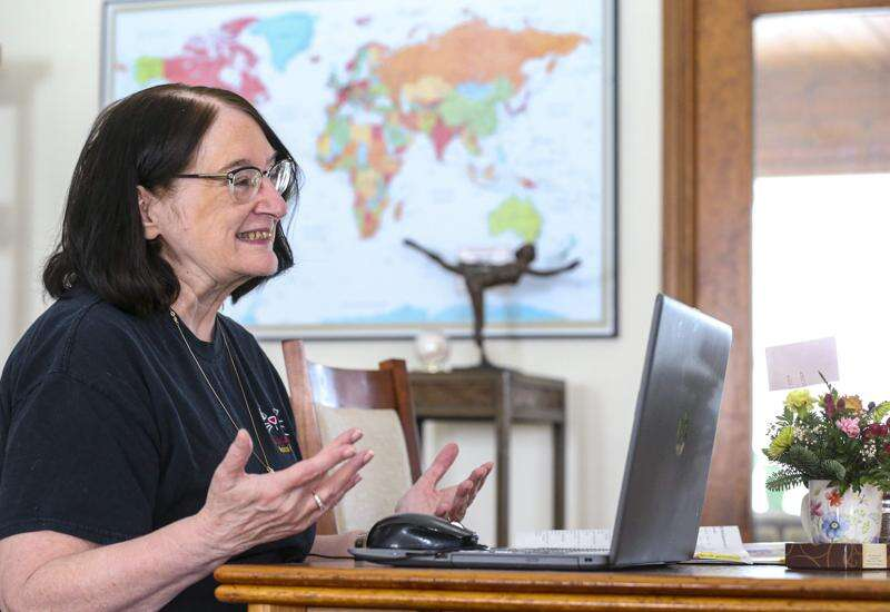 English as a Second Language tutor Linda Merritt learns from her adult students
