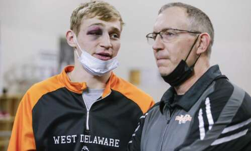 Jared Voss has a 'nice shiner' and West Delaware shines…