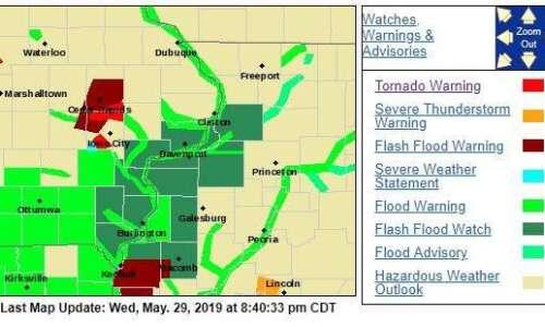 NWS: Tornado warning for Northern Johnson, Linn County through 9:15…