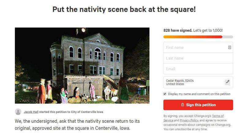 Iowa town divided over Nativity scene on courthouse lawn