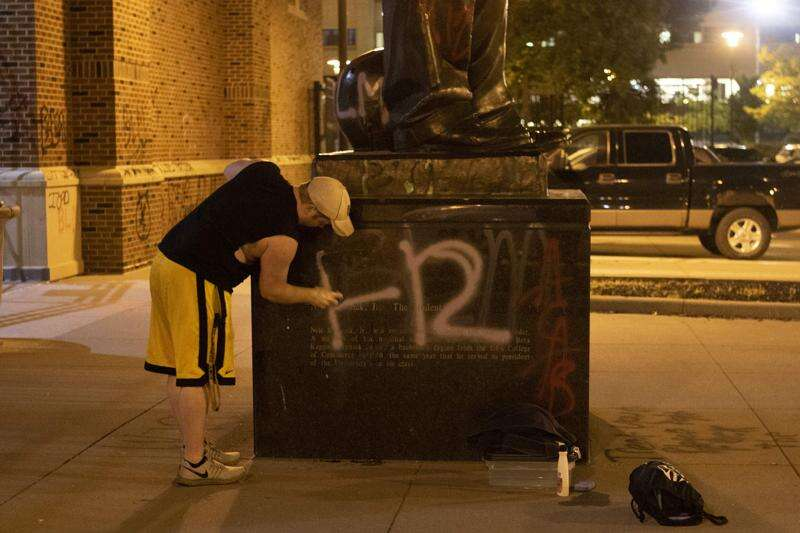 Vandals tag Kinnick with spray paint after former players decry racial bias