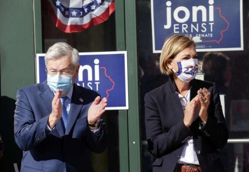 Former Ambassador Terry Branstad, Gov. Reynolds reunite to campaign for Joni Ernst