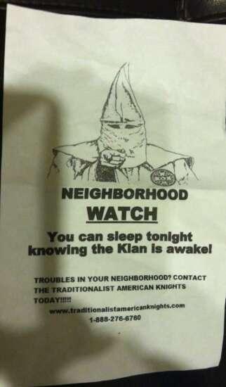 Klan flyer appears in northeast Cedar Rapids neighborhood