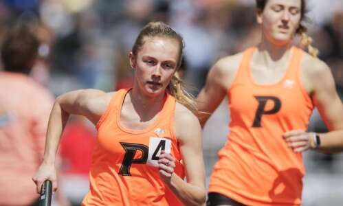 Cedar Rapids Prairie's Gabby Cortez blisters the Kingston track
