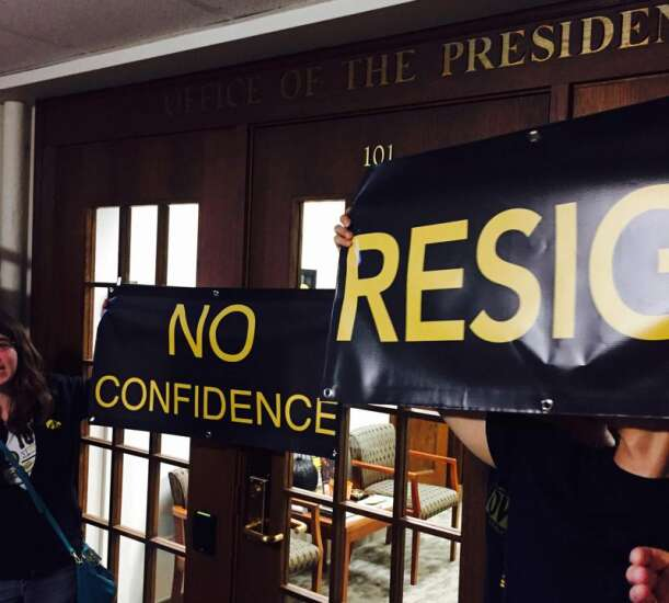 Harreld faces protests on first day as University of Iowa president
