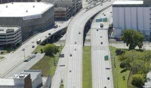 Northbound Interstate 380 down to one lane downtown today