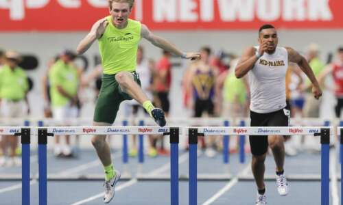 Beckman's Mark Brown repeats in 2A state track 400 hurdles
