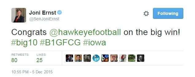 Joni Ernst congratulates Iowa on the 'big win'