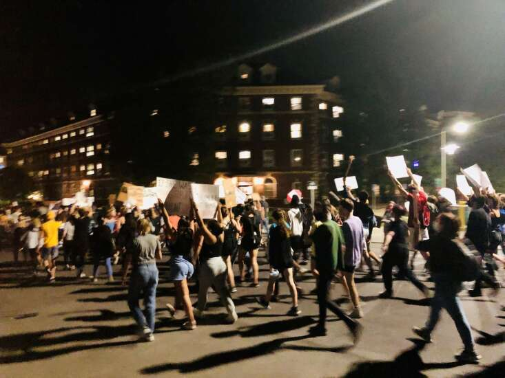 Peaceful protests against University of Iowa Phi Gamma Delta fraternity follow night of vandalism