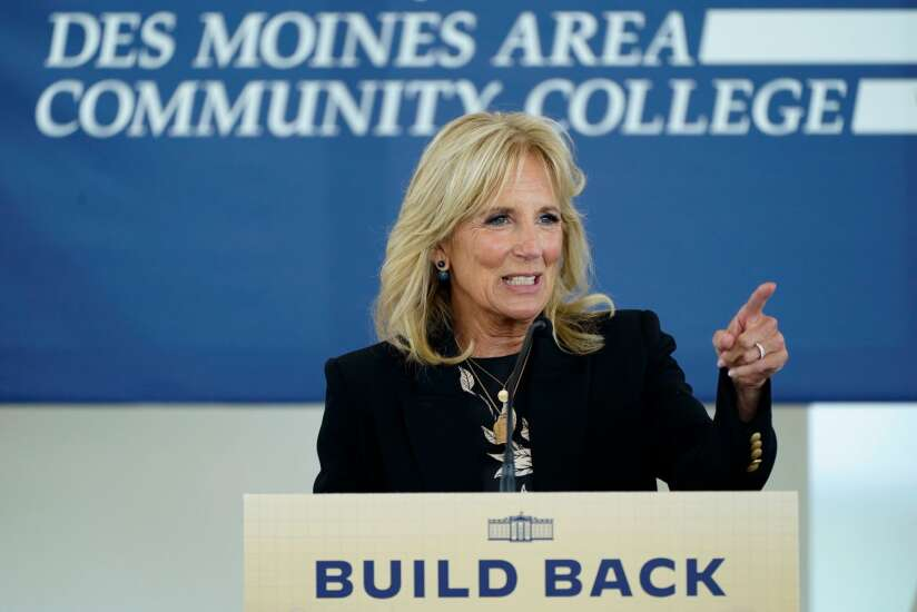 First lady touts child care during Iowa trip