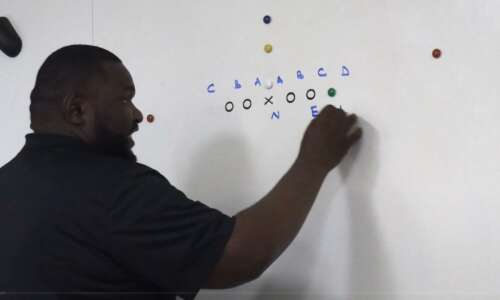 Kelvin Bell explains fundamentals of Iowa football defensive line scheme