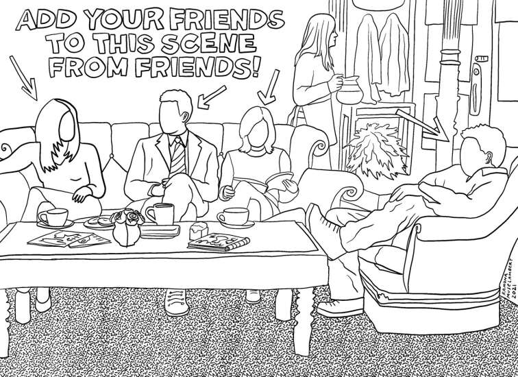 Add your friends to this scene from 'Friends'