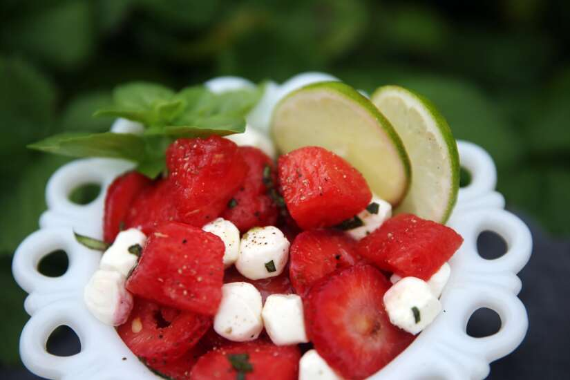 For a fresh take on caprese salad, replace tomatoes with strawberries and watermelon